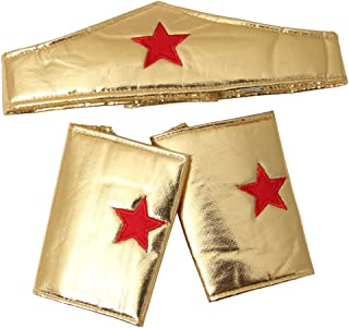 Making Believe Girls Gold Wonderful Superhero Costume Cuffs and Headband Set, 3-7