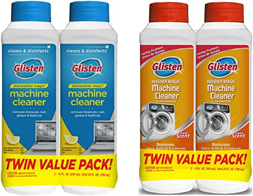 Glisten Dishwasher Magic Machine Cleaner and Disinfectant 2-Pack and Washer Magic Washing Machine Cleaner and Deodori...
