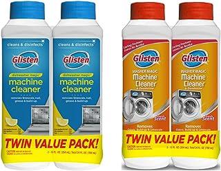 Glisten Dishwasher Magic Machine Cleaner and Disinfectant 2-Pack and Washer Magic Washing Machine Cleaner and Deodorizer ...