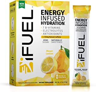 iFUEL - Energy Electrolyte Drink Mix   Sugar Free, Natural Caffeine, 1,000mg Electrolytes, 7 B-Vitamins, Packed with Antio...