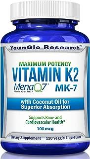 Vitamin K2 MK7 - MenaQ7 and Coconut Oil for Superior Absorption - 120 Soy-Free Non-GMO Vegetarian Liquid Caps 100 mcg. (1 Pack)