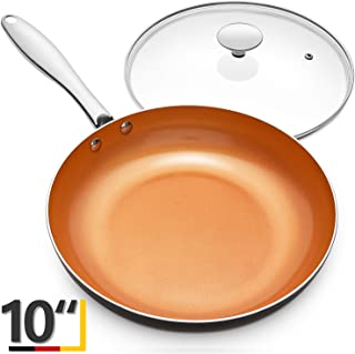 MICHELANGELO 10 Inch Frying Pan with Lid, Nonstick Copper Frying Pan with Titanium Ceramic Interior, Nonstick Frying Pans, Nonstick Skillet with Lid,10 Inch Copper Pans Nonstick, Induction Compatible