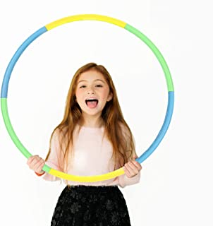 Beakabao Kids Plastic and Foam Hula Hoop Set (6 Parts), Weight and Size Adjustable Detachable Sports Toys, Suitable for Fitness, Gymnastics, Dance, Games and Pet Training, 27 Inches