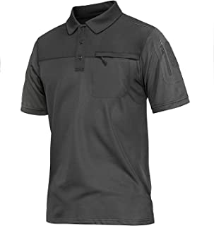 Lacsinmo Men's Short Sleeve Polo Shirts Tactical Shirts Dry Fit Polo with Pockets