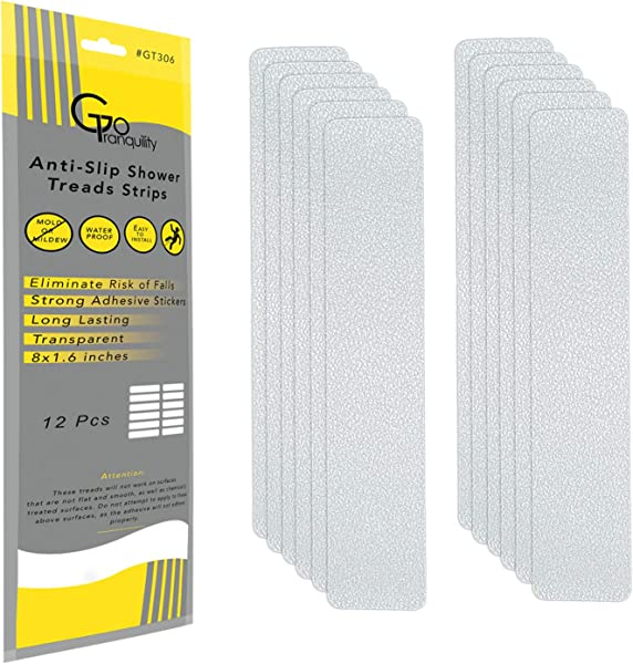 GoTranquility Anti Slip Safety Bathtub Stickers Non Slip Shower Strips Treads To Prevent Slippery Surfaces Clear PEVA Grip Tape 2019 12 1 Pack