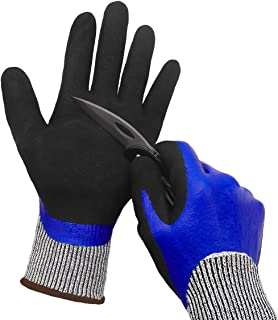 Waterproof Work Gloves, Cut Resistant Liner Safety Gloves, Double Coating Superior Grip Durable for Kitchen Fishing Cleaning Garden Construction Car Multi-Purpose.
