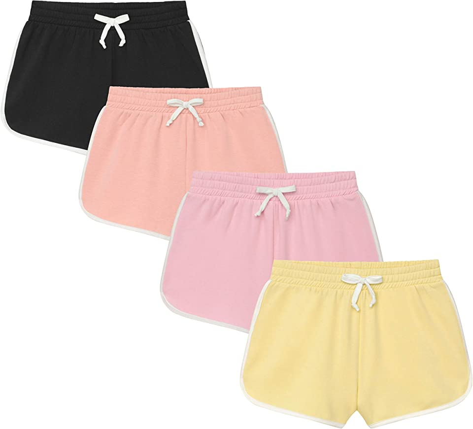 Girl's 4-Pack Comfy Fleece Lounge Shorts with Drawstring