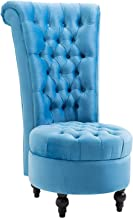 HOMCOM Retro High Back Armless Chair Living Room Furniture Upholstered Tufted Royal Accent Seat, Bright Blue