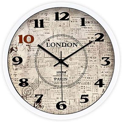 Der Creative Arts European Retro Wall Clock,Living Room Bedroom Silent Wall Clock Quartz Clock