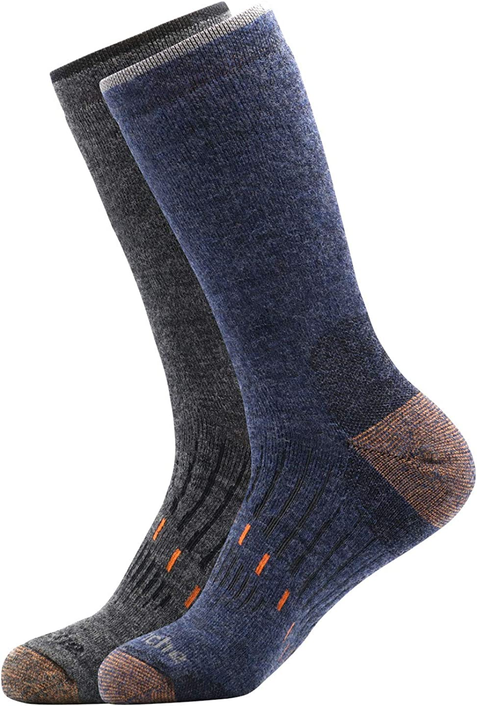 Avalanche Men's Odor Resistant Copper Wool Blend Crew Socks With Arch Support 2-Pack
