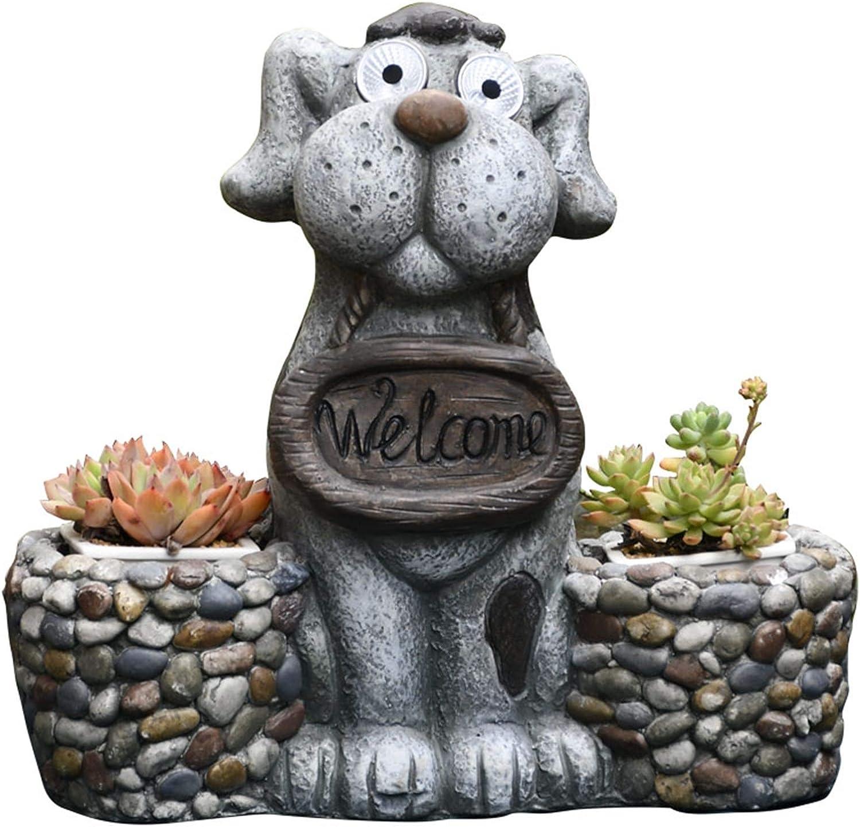 MSCHEN Garden Ornaments Statue Sales Flower Daily bargain sale Puppy Sculpture Pot