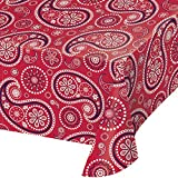 Creative Converting TABLECOVER PL 54' X 108' AOP Red Paisley Print Plastic Tablecloth, 54 x 108, Multicolor