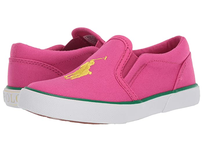 Polo Ralph Lauren Kids  Bal Harbour III (Toddler) (Sport Pink Canvas/Yellow Polo Print) Girls Shoes