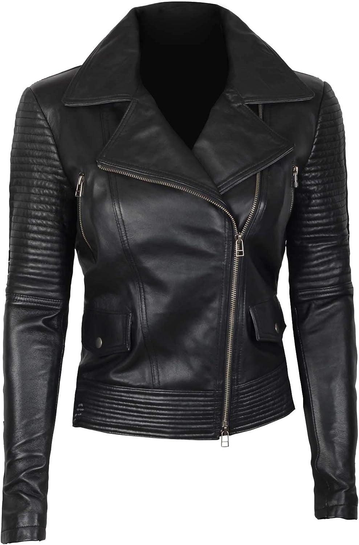 Real Lambskin Leather Jacket Women Asymmetrical Leather Jacket Women Motorcycle