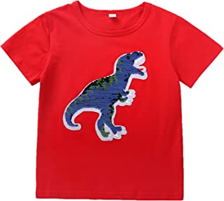 Frontiersman Flip Sequins Dinosaur T-Shorts for Boys Girls Kids Magic Sequin Cotton Tops White Tees 3-8T Years