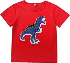 Flip Sequins Dinosaur T-Shirts for Boys Girls Magic Sequin Kids Short Sleeve Tops Blue Toddler Cotton Tees 3-8T Years