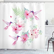 Ambesonne Hummingbirds Shower Curtain, Tropical Flowers with Flying Hummingbirds Wild Nature Blooms, Cloth Fabric Bathroom Decor Set with Hooks, 84 Long Extra, Pink Purple