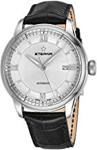 Eterna Eternity Adventic Mens Automatic Watch - 41mm Silver Face with Luminous Hands, Date and Sapphire Crystal - Stainless Steel Black Leather Band Swiss Made Classic Luxury Watch 2970.41.62.1326