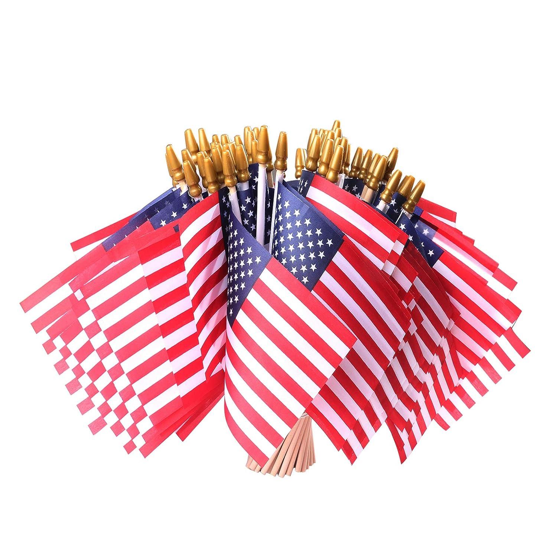 HOOSUN LOT of 50 PCS USA 4''x6'' Wooden Stick Flag - July 4th Decoration, Veteran Party, Mini American Stick Flag - American Hand Held Stick Flags with Safety Golden Spear Top (50 PCS)