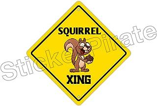 StickerPirate Squirrel Crossing Funny Metal Novelty Sign Aluminum
