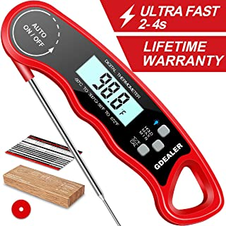 """GDEALER DT09 Waterproof Digital Instant Read Meat Thermometer with 4.6"""" Folding Probe Calibration Function for Cooking Food Candy, BBQ Grill, Smokers"""
