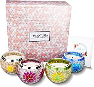 CREASHINE Scented Candles Gift Set, Sunflower Mosaic Glass Candles Design 4.4 Oz Natural Soy Wax Aromatherapy Candles Set,...