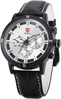 Swell Shark Men's SH349 Quartz White Dial Day Date Dual Time Zone Black Leather Wrist Watch