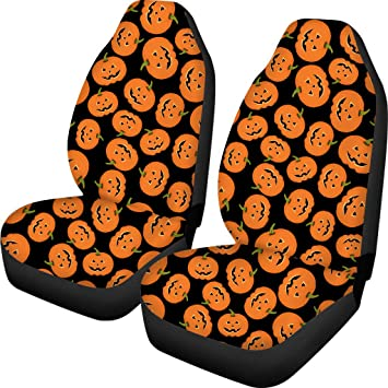 INSTANTARTS Halloween Pumpkin Car Seat Cover Front Seats Only 2pcs/Set Vehicle Bucket Seat Cover Car Decor Universal Fit for Car Truck SUV: image