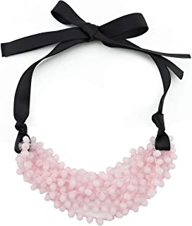 FIRSTMET Handmade Ribbon Bow Glass Beaded Collar Necklace for Women
