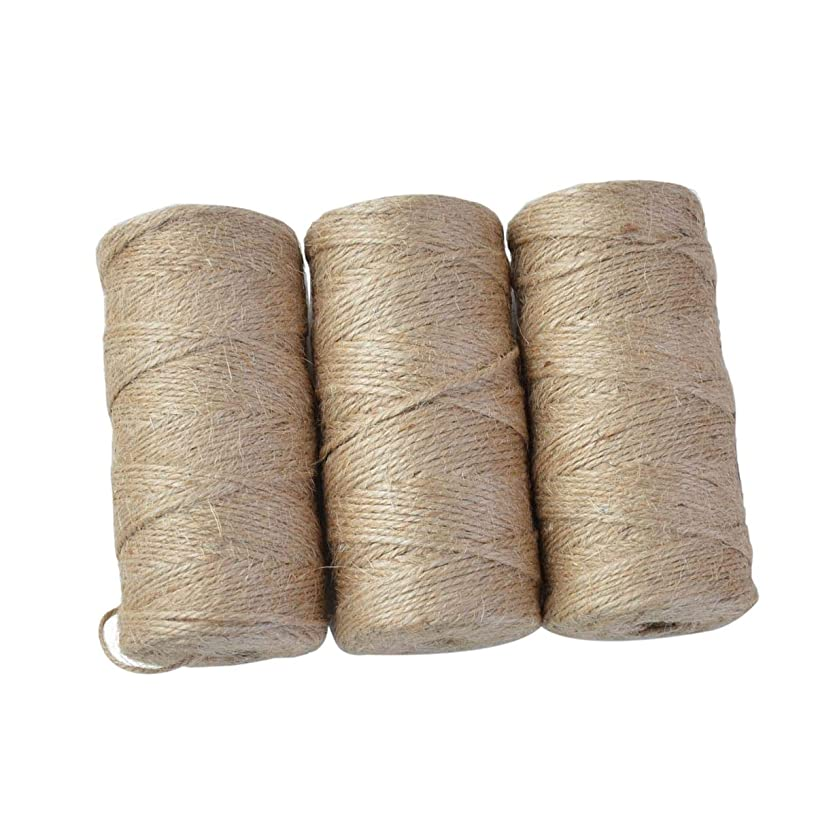 3 Rolls 984 Feet 2 MM Natural Jute Twine Rope Packing String for Gift Wrapping, Bundling, Gardening, Repairing, Fixing Household Accessory, Arts and Crafts Decoration (Each Roll 328 Feet)