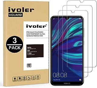 VGUARD [3-pack] Kompatibel med Huawei Y7 2019/Huawei Y7 Prime 2019/Huawei Y7 Pro 2019 skärmskydd, härdat glasfilm [9H hård...