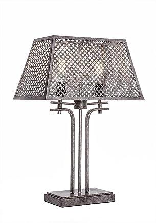 Toltec照明Corbello 2ライトテーブルランプwith AgedシルバーメタルShades