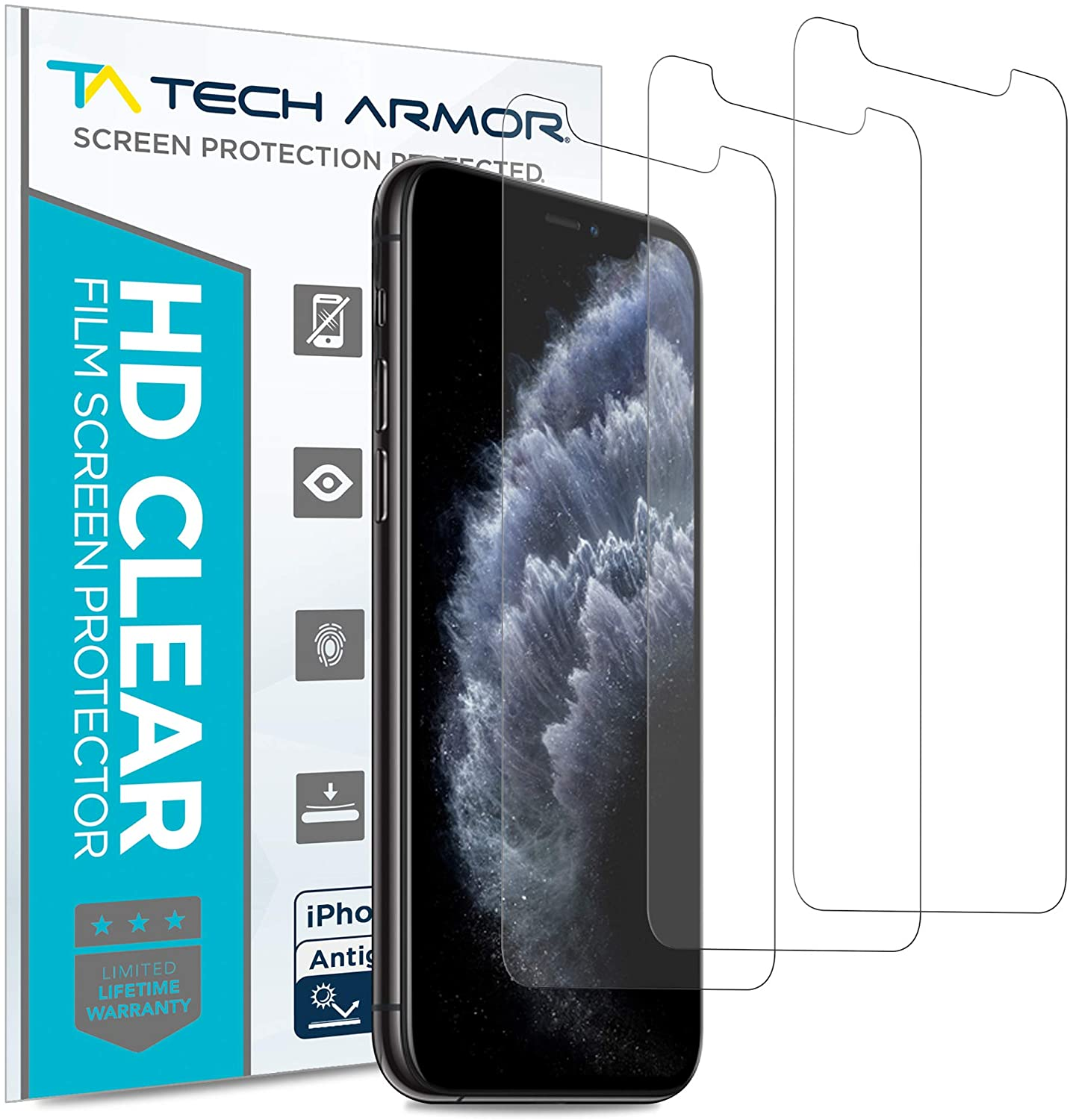 Tech Armor Matte Anti-Glare/Anti-Fingerprint Film Screen Protector for New Apple iPhone 11 Pro Max/iPhone Xs Max - Case-Friendly, 3D Touch Accurate Designed for 2019 Apple iPhone 11 Pro Max [3-Pack]
