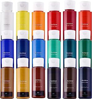 Acrylic Paint Set of 18 Colors Large 59ml (2 us fl oz) for Canvas, Wood, Ceramic, Rock Painting, Rich Pigments Non-Toxic P...