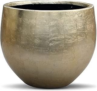 Gold Leaf Lacquered Round Planter - Round Bottom Fiberstone Flower Pot 10