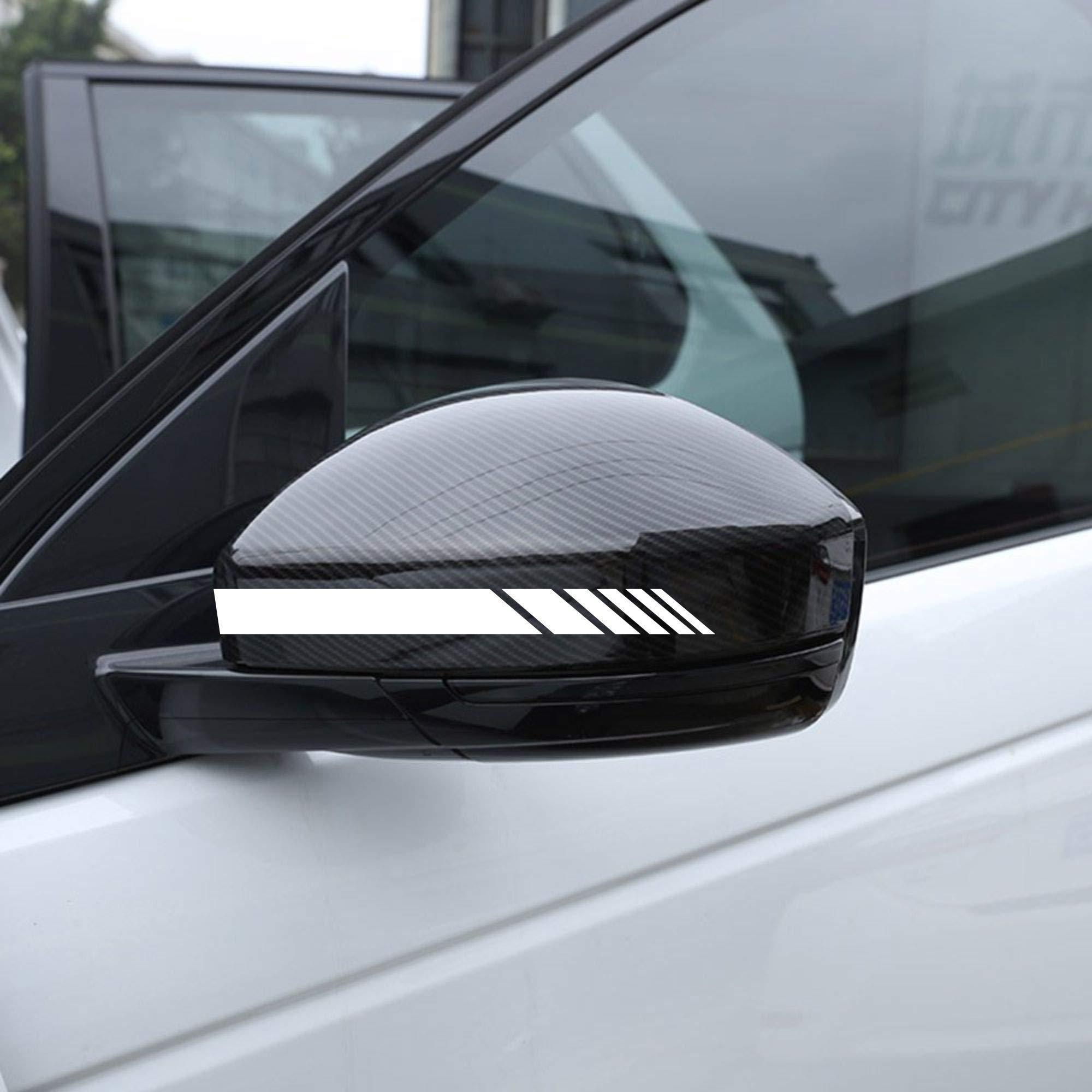Autodomy Pegatinas Espejo Retrovisor Coche con Diseño de Franjas Rayas Pack de 6 Unidades con Diferentes anchuras para Coche (Blanco): Amazon.es: Coche y moto