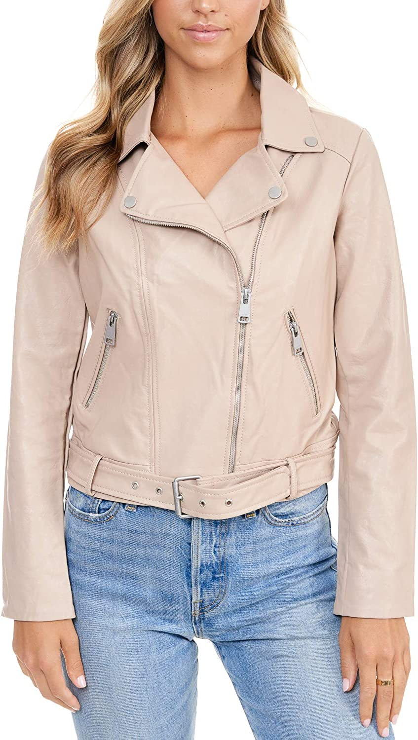 Elodie Women's Faux Leather Belted Motorcycle Jacket