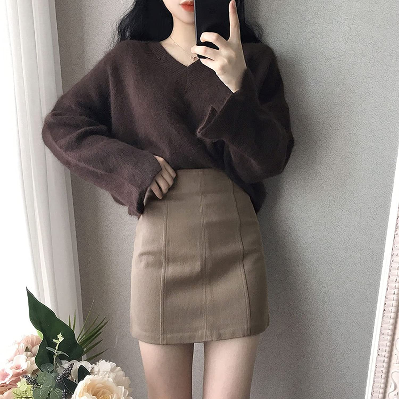 GAOLIM Autumn and Winter Solid color V Collar Imitation Rabbit Knit Sweater Shirt Loose Trumpet Sleeve Cuff Head Shirt Women