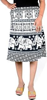 Sttoffa Jaipuri Print Cotton Bohemian Knee Length Skirt Free Size Rapron Skirt White