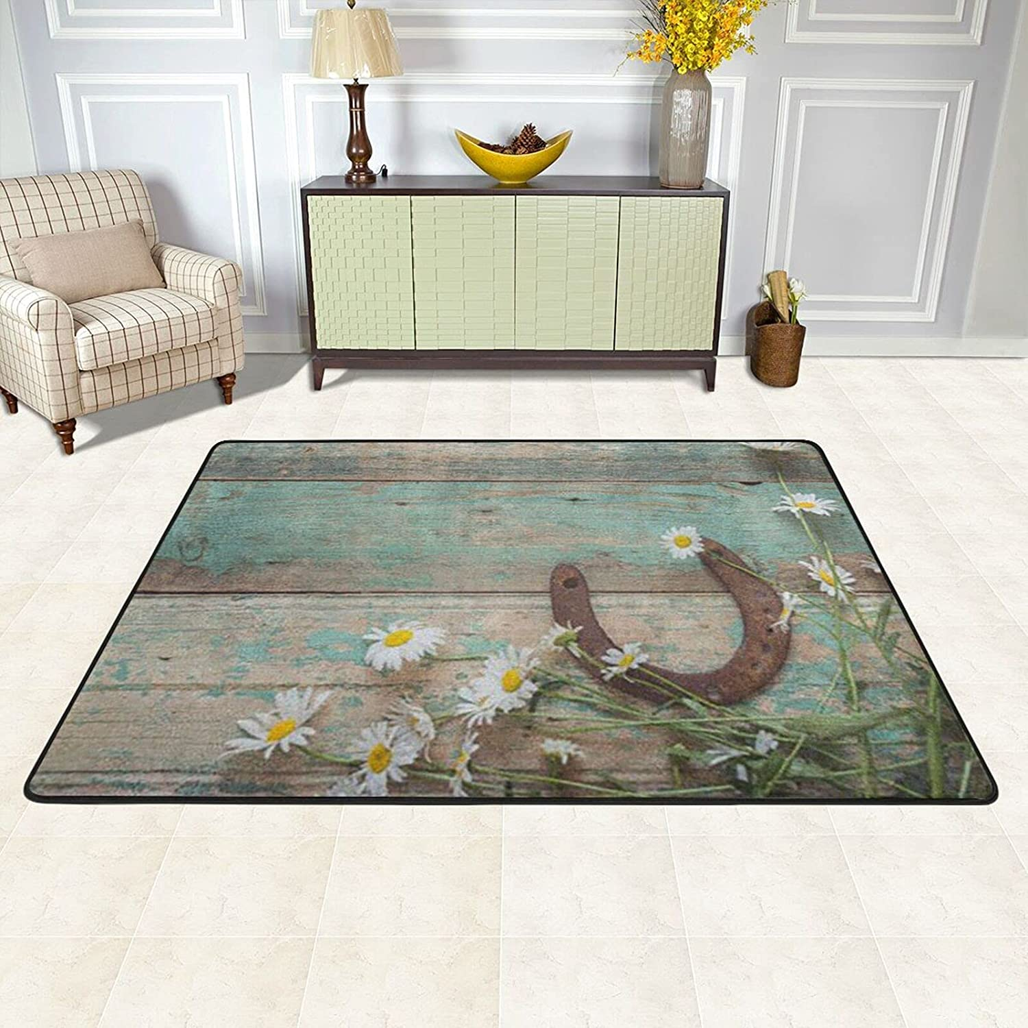 Western Max Spring new work 55% OFF Country Rustic Aqua Brown Cowboy Carpet Floral Absorbent
