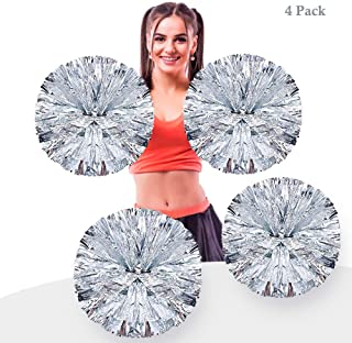 AUHOKY 4Pcs Metallic Foil Cheerleading Pom Poms, Premium Cheerleader Pompoms Kit, Cheering Hand Flowers for Sports Meeting Cheers Ball Game Dance Fancy Dress Night Party - 6 Inches (Silver)