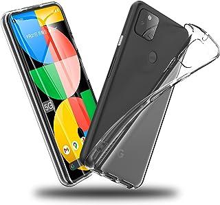 Google Pixel 5a 用ケース クリア 薄型 ドイツバイエル製TPU素材 超耐衝撃 全透明 20倍黄変防止 レンズ保護 「ストラップホール付き」 ピクセル5a 用カバー クリスタル・クリア