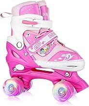 XRZT Roller Skates for Girls - Adjustable Roller Skates, with 8 Wheels Light Up, Full Protection for Children's Indoor and...