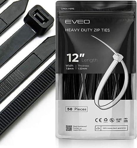 Zip Ties 12 Inch Zip Ties - Black Zip Ties - heavy duty & Zipties Chain Link Fence Parts - Plastic Ties Wire Ties Wra...