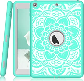 iPad 5th/6th Generation Case, Hocase Heavy Duty Shock Absorbent Rubber+Hard Plastic Dual Layer Protective Case w/Mandala Floral Print and Kickstand for iPad 9.7 2018/2017 - Mint Green/Gray