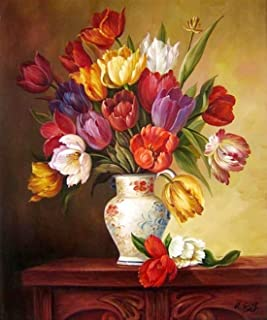 eGoodn Diamond Painting Art Kit DIY Cross Stitch by Number Kit DIY Arts Craft Wall Decor, Full Drill 17.3 inches by 21.3 inches, Tulip Flower Vase, No Frame