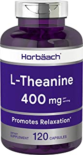 L Theanine 400mg Capsules | 120 Count | Non-GMO & Gluten Free | by Horbaach