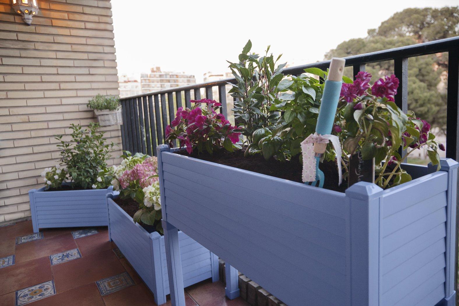 Huerto urbano GREENLAND especial balcón. 90x32x75 cm. Color:Azul ...