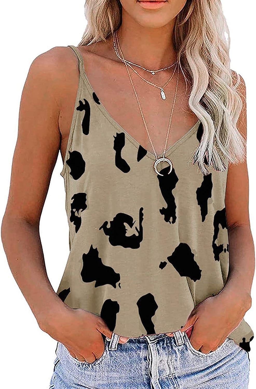 Womens Tank Tops Leopard Graphic Prints T Ranking TOP16 Crop V-Neck Sleeveless Oklahoma City Mall