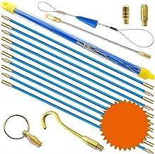 Baalaa Fish Tape Bekabeling Staven 5.8M Glasvezel Elektrische Kabel Threader Running Puller in Case 10 Rods x 58cm, Blauw